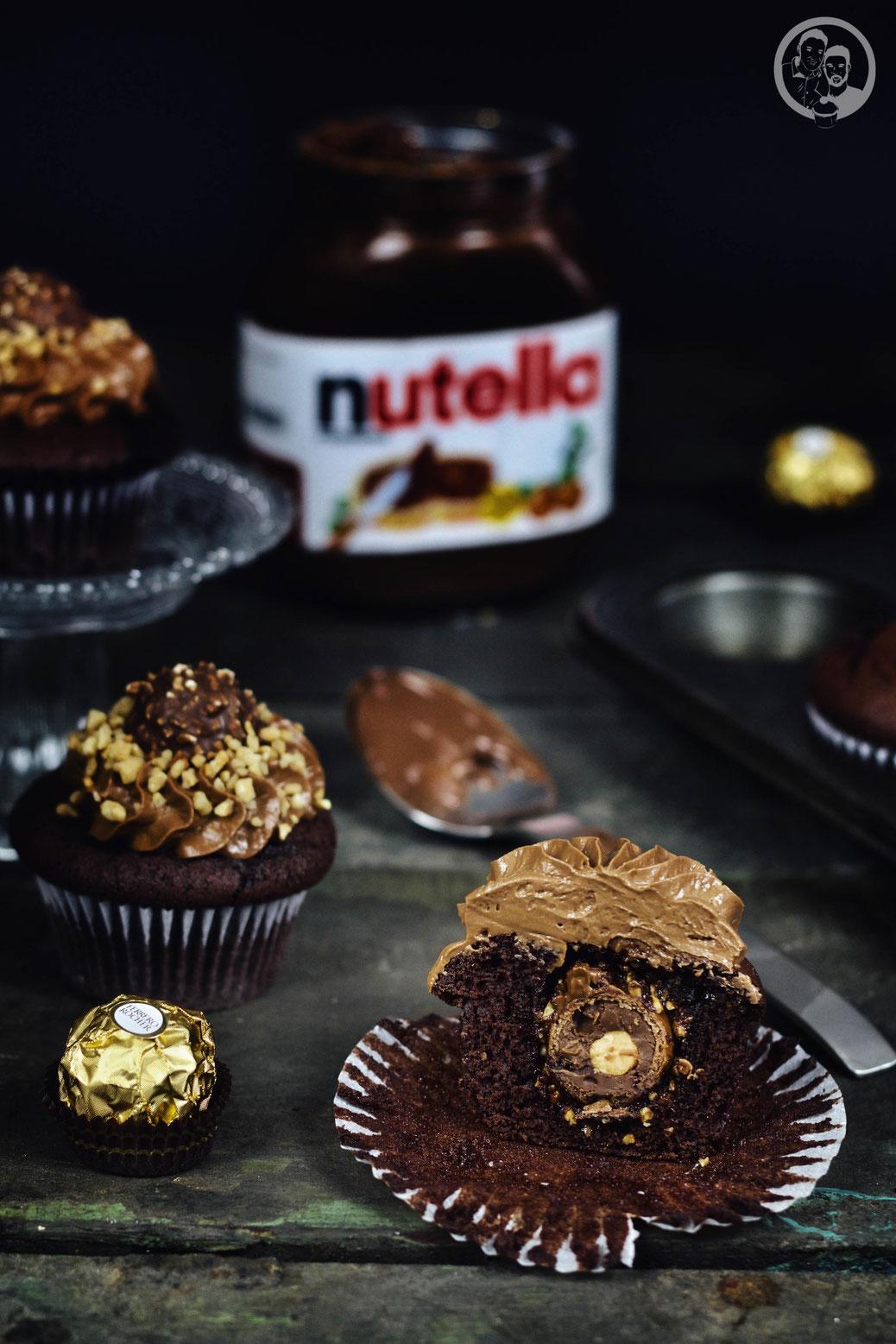 Nutella Rocher Cupcake im Anschnitt