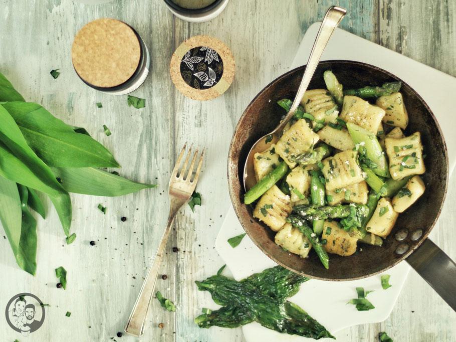 Bärlauchgnocchi mit grünem Spargel_Rezept_kochen