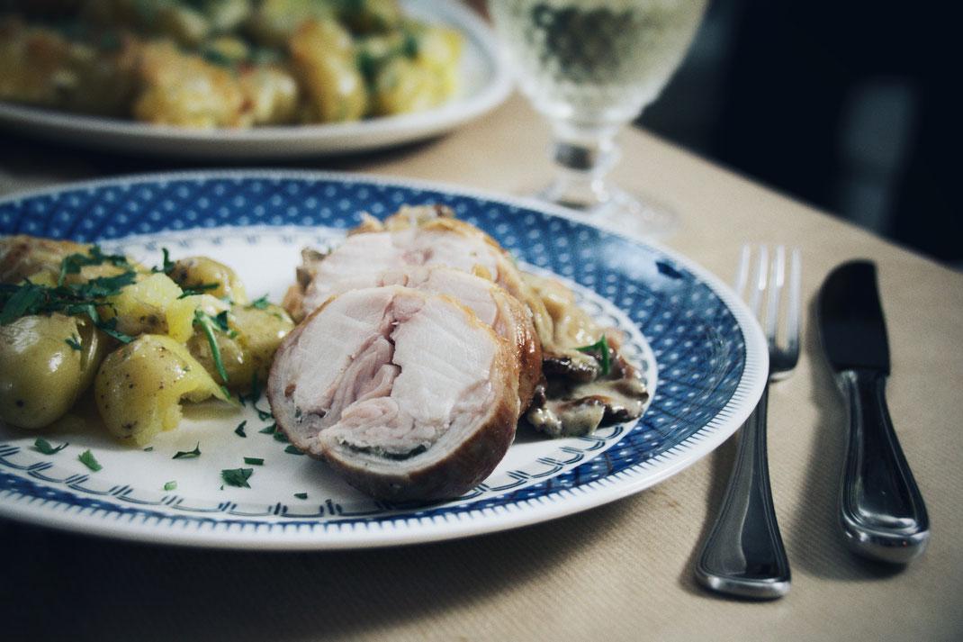 Kaninchenrücken mit Pfifferlingen_Wild_Herbstdinner_Rezept_Kochen