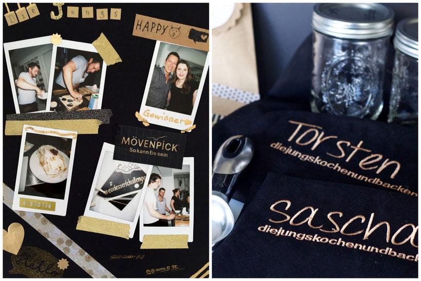 Unsere Erinnerungs-Collage und die wunderschönen Kochschürzen